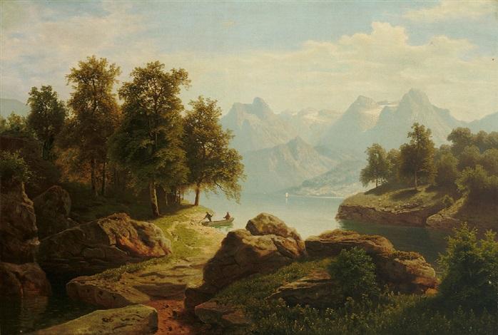 blick auf den vierwaldstätter see mit prachtvollem gebirgshorizont by theodor wilhelm t nocken