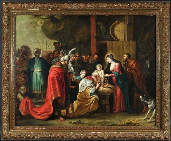 anbetung der könige, nach peter paul rubens (1577-1640) by willem van herp the elder