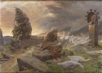 die gänseliesel vor einem marterl mit maria by ferdinand staeger