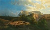 prachtvolle alpenlandschaft mit malerischem, teils verschneitem gebirgshintergrund by leopold heinrich vöscher