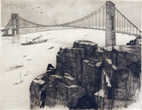 view of the george washington bridge, new york (+ another, similar; 2 works) by otto wackernagel