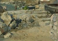 capri marina piccola (kleine bucht mit fischerbooten und badenden) by ernst carl friedrich te peerdt