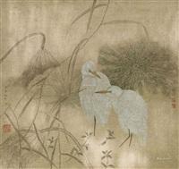双鹭图 by jiang hongwei