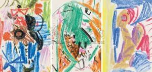 无题 (三幅一组) 蜡笔 3 works by wu dayu