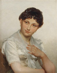 brustbildnis einer jungen dame in weißer spitzenbluse by franz leinecker