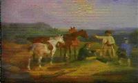 der richtige weg (inmitten markischer landschaft hat eine  gruppe reisender eine unfreiwillige rast eingelegt) by edmund friedrich rabe