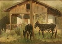 zwei ausgespannte esel vor ländlichem anwesen by benno raffael adam