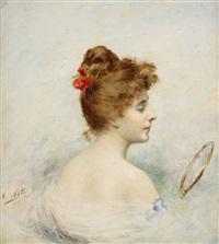 ung kvinna med spegel by angelo asti