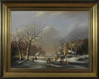 winterliche flusslandschaft mit schlittschuhläufern und kleinem herrenhaus am waldrand by thomas f. heesakkers