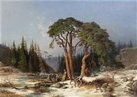 nordiskt vinterstycke: granskog med ett tillfruset träsk by joseph magnus stack
