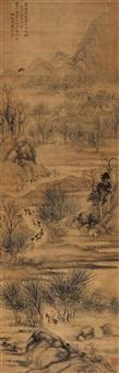 春日行旅图 (landscape) by liao pei