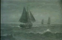 fischerboote auf see by leon valckenaere