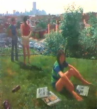 elena, harry and alan in the backyard by catherine murphy
