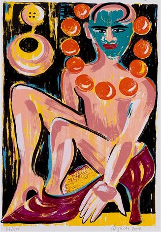 ein blatt für unicef sitzende in rotem stöckelschuh from schmerztransformationen by elvira bach