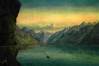 vue vers flüelen et le bristenstock, lac des quatre cantons by konrad corradi