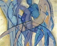 figürliche komposition in blautönen und altrosa (from die nacht kurz vor den wäldern) by petra amerell