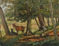 drei ziegen unter bäumen by cornelis raaphorst