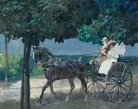 elegantes paar in einspännigem cabriolet bei der ausfahrt auf einer schattigen chaussee by hermann junker the younger