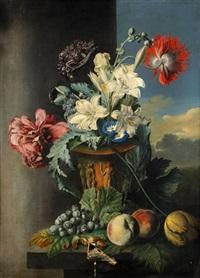 stilleben med blommor och frukter by john cart burgess