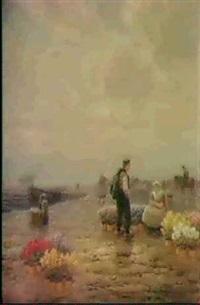 blumenverkauferin am hafen by m. gabriel