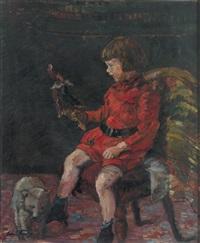 portrait eines kleinen mädchens mit kasperlefigur und bär by oskar frey