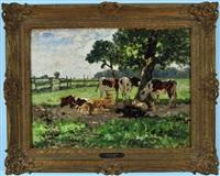 kühe und schafe rasten im schatten eines baumes auf der weide by richard von poschinger
