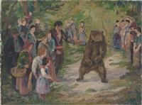zirkusleute mit tanzbär vor zuschauern im freien by oskar frey