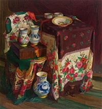 stilleben mit siebenbürger stickereien und keramik by rudolf nissl