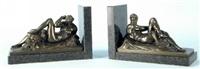 buchstützen mit liegenden griechischen figuren (pair) by robert lehmann