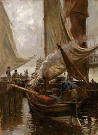 fischerboote im hafen mit figurenstaffage by friedrich (fritz) raupp