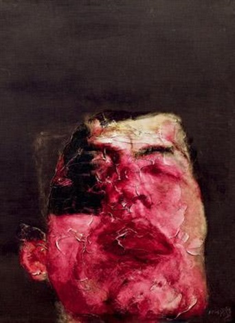 闭着眼睛的头像(自画像) a man closing his eyesself portrait by zhou chunya