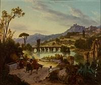 südliche flusslandschaft mit steinernen brücken, im vordergrund lebhaftes treiben am brunnen by august wilhelm julius ahlborn