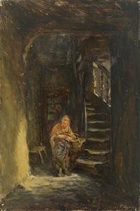 blick in mittelalterliches haus mit malerischer treppe und alter hausbesorgerin by anton burger