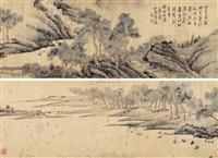 深林萧寺图 (landscape) by zhou ji