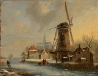 eisvergnügen mit zahlreichen personen auf zugefrorenem kanal vor städtchen mit kirche und windmühle by jacobus freudenberg