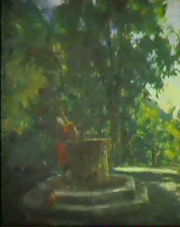 madchen am ziehbrunnen im park by rinaldo agazzi