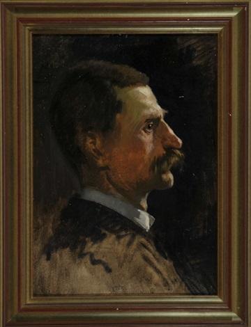 portrait eines mannes mit schnurrbart im profil by ernst pasqual jordan