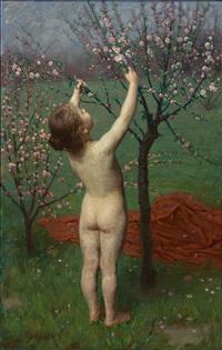 allegorie des frühlings: nacktes kind greift in blühendes bäumchen by simon glücklich