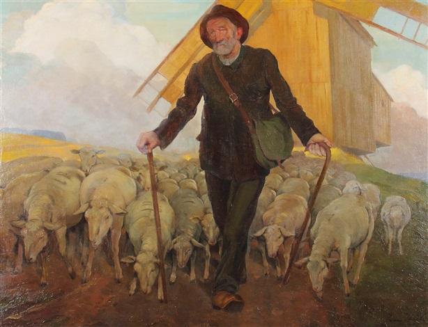 Schafhirte mit Herde by Ivan Thiele on artnet | {Herde 16}