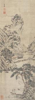 深山隐逸图 (landscape) by wen jia