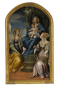 heliga maria med jesusbarnet - sankt ursula och sankt justinus by simone peterzano