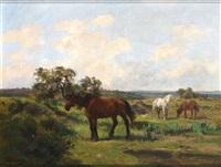 weite landschaft mit drei grasenden pferden by clement (charles-henri) quinton
