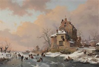 figures on a frozen waterway enjoying a wintersday by frederik marinus kruseman