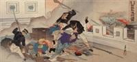 der chinesisch-japanische krieg, die eroberung pyöng-yangs durch japanische truppen (triptych) by ogata gekko