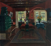 interieur - blick in eine gute stube mit grünem kachelofen vor roter wand by jakob koganowsky