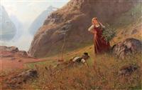 junges bauernpaar vor fjordlandschaft by hans dahl