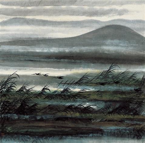 芦雁图 reeds and wild geese by lin fengmian