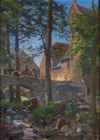 blick auf mittelalterliche burg - der schlossherr mit erlegtem wild zieht über steinerne bogenbrücke by paul kretzschmar