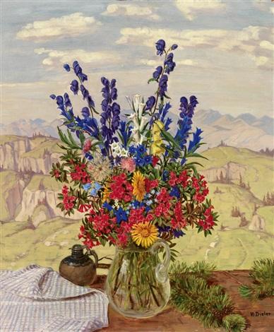 alpenblumen bunter blumenstrauß vor gebirgslandschaft by hans dieter