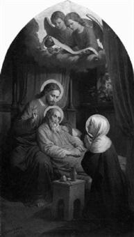 tod des hl. joseph von nazareth im besein von christus und maria by fidelis bentele